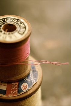 sewing thread on wooden spools