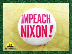 Vintage Impeach Nixon Authentic Pinback Button by KressHillVintage