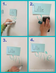 "Several examples of classroom ""sign-in"" systems for children of various ages and abilities"
