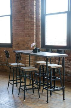 Bar Table Made With Reclaimed Century Plus Old Growth Lumber And Pipe Legs We Design Build Custom Wood Furniture For Homes