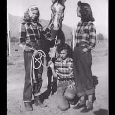 1940s found photo girls women with horse jeans plaid shirt boots shoes rolled up vintage sportswear fashion casual work clothing War Era WWII wester cowgirl