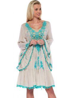Antica Sartoria Turquoise Lace Applique Fine Cotton Beach Dress