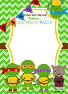 Ninja Turtle Birthday Invitation Template New Free Printable Ninja Turtle Birthday Party Invitations Ninja Turtle Party, Ninja Turtles, Ninja Party, Ninja Turtle Birthday, Free Printable Birthday Invitations, Party Invitations Kids, Shower Invitations, Invitation Wording, Ninja Turtle Invitations