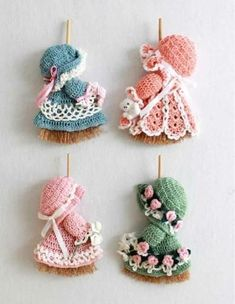 """Crochet Pattern for Mini Broom Dolls Delight your family and friends with these crochet patterns for an adorable collection of """"Mini Broom Dolls"""". Worked with dresses for work Mini Broom Dolls 1 Crochet Pattern Leaflet Crochet Home, Cute Crochet, Vintage Crochet, Crochet Crafts, Crochet Baby, Crochet Projects, Crochet Pillow, Crochet Flower Patterns, Crochet Doll Pattern"""