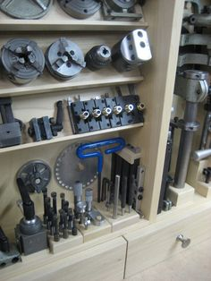 Custom cabinet made to hold  attachments for a Unimat DB200 lathe - very nice craftsmanship