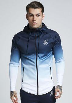 SIKSILK ATHLETE ZIP THROUGH HOODIE - Training jacket - navy/white - Zalando.co.uk