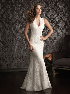 v neck wedding dresses for large bust | lace-v-neck-sheath-column-natural-waist-sleeveless-luxurious-wedding ...