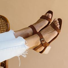 ST. AGNI Adalene Ankle Strap Sandal - Rust Suede