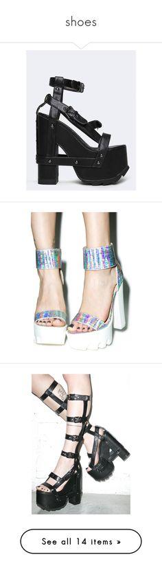 """shoes"" by lucille-msk on Polyvore featuring shoes, sandals, black, platform sandals, black strap sandals, chunky platform shoes, black shoes, platform shoes, pumps et hologram pumps"