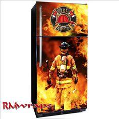 Firefighter Refrigerator sticker or wrap Firefighter Crafts, Firefighter Paramedic, Volunteer Firefighter, Refrigerator Wraps, Rambo, Fire Art, Fire Department, Fire Trucks, Decoration
