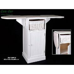 Mueble Plancha Madera Blanco con Armario y 1 Cesta Mimbre