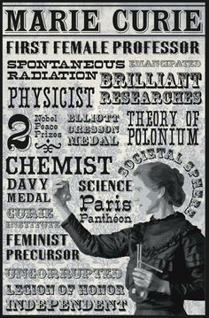 Marie Curie - badass women of history - scientists Brave Women, Thinking Day, Physicist, Women In History, Chemistry, Einstein, Nerd, Teaching, Inventors