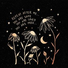 Today's affirmation 🌙✨ You are safe You are loved You are free. You are powerful You are abundant You are blessed You are alive. & you are capable of anything you set your mind to. Positive Affirmations, Positive Quotes, Words Quotes, Life Quotes, Sayings, Bujo Inspiration, You Are Blessed, Happy Words, Pretty Words
