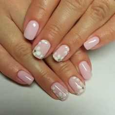 Beautiful nails 2016, Dating nails, Fashion nails 2016, flower nail art, Manicure by summer dress, Nails ideas 2016, Pale pink nails, Pink dress nails