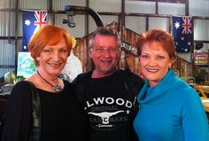 Cameraman Mitch Bailey poses with Cornelia Frances and Pauline Hanson while filming Australia's history challenge..