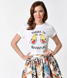 Walt's Wardrobe White Short Sleeve Unisex Knit 'Cheers to Adventure' Tee - Park Bound - The Happiest Collection on Earth - Collections | Unique Vintage