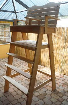 Giant Lifeguard chair for sale. 8ft tall, sits two. Original Chair we made from Cypress $799 Whats on your beach?