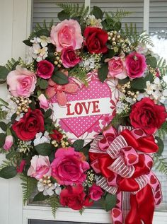 """SEASON of LOVE"" -  XL Vintage Chic Valentine's Day Wreath Decoration by DecorClassicFlorals, $169.95"
