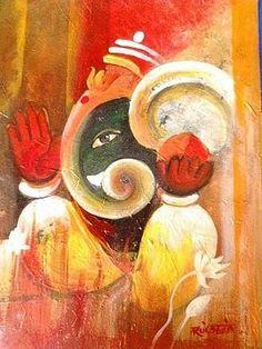 Kuldeep Burma Lord Ganesha Paintings, Ganesha Art, Exotic Art, Indian Folk Art, Elephant Art, Hindu Art, Crayon, Tribal Art, Beautiful Paintings