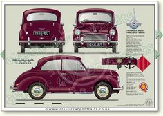 Morris Minor 1000 2dr Saloon 1956-60 classic car portrait print