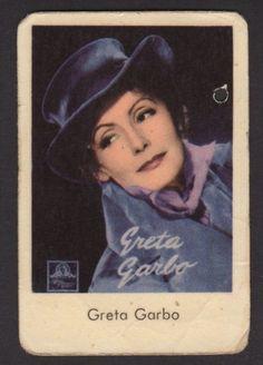 1956 Vintage Swedish Autograph Studio Set Movie Star Gum Card Greta Garbo