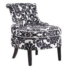 Showcasing a floral damask motif in black and white, this lovely accent chair lends an elegant touch to your living room or master suite.      ...