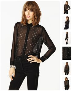 2266bb424e27 Metallic Stud Blouse - Black in What s New at Nasty Gal