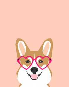 Corgi Love - Valentines heart shaped glasses on funny dog for dog lovers pet gifts customizable dog  Art Print