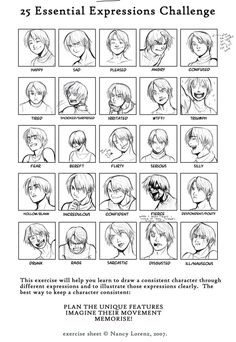 Hazel's 25 expressions by ~Penril on deviantART Human Drawing, Guy Drawing, Drawing People, Drawing Tips, Drawing Reference, Facial Expressions Drawing, Cartoon Expression, Anime Faces Expressions, Anime Drawings Sketches