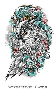 Beautiful Illustration Owl Owl Inside Ocean Stock Illustration 641203435 Beautiful illustration with owl. The owl inside ocean waves with sakura flowers. It can be used for printing on t-shirts and idea for tattoo. Owl Tattoo Drawings, Tattoo Sketches, Ocean Tattoos, Side Tattoos, Owl Tattoo Design, Tattoo Designs, Pretty Tattoos, Cool Tattoos, Arm Tattoo