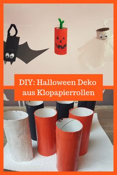DIY Klopapierrollen Kinder basteln, Halloween, Herbst Deko, selbstgemacht Diy Hacks, Planter Pots, Canning, Kindergarten, Fall, Diy, Autumn Crafts, Home Canning, Preschool