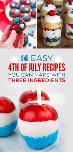 16 Tasty Of July Treats That Only Require Three Ingredients 4th Of July Desserts, Just Desserts, Dessert Recipes, 4th Of July Party, Fourth Of July, Chen, Magic Garden, Edible Crafts, Olive Garden