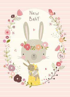 Nikki Upsher 'Ansichtkaart New baby Roze'