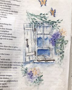Day   I used the window again today to show you that you can do any of these… New Bible, Bible Art, Bible Illustrations, Illustration Art, Watercolor Art, Watercolor Landscape, Watercolor Plants, Journaling, Bibel Journal