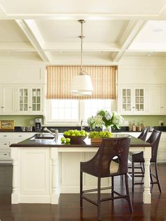 white cabinets + wood countertop
