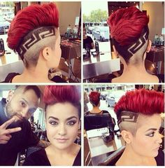 Shaved sided red dyed hair