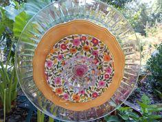 Glass Plate Flower Garden ArtPink Yellow and by LowBridgeArtworks, $37.00