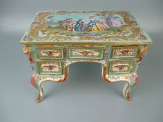 Antique French Faience Pottery Figural Louis 14 Roccoco Miniature Dressing Table