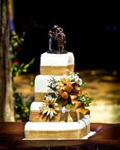 Burlap country wedding cake. -Swain wedding 2013