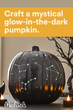 This mystical celestial pumpkin is the perfect addition to your spooky Halloween decor. Just start with a black pumpkin (or you can paint one black!) and have fun with glow-in-the-dark paint. Spooky Halloween Decorations, Easy Halloween, Holidays Halloween, Halloween Treats, Halloween Pumpkins, Fall Decorations, Halloween 2020, Halloween Party, Samhain
