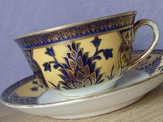 Antique 1920's Noritake china hand painted tea cup set, vintage blue and gold tea set, porcelain tea cup, Japanese tea cup and saucer
