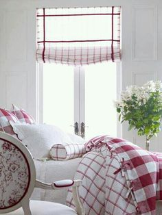 Cranberry and white guest Bedroom