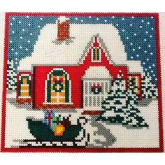 """A Retro Noel"" - Christmas hama perler beads by stelloudraw (Design by Nurdan Kanber) - Pattern: https://www.pinterest.com/pin/374291419010425947/"