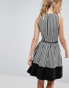 Buy Closet Wrap Front Skater Dress in Stripe with Belt at ASOS. Get the latest trends with ASOS now. Girls Fashion Clothes, Teen Fashion Outfits, Girl Fashion, Fashion Dresses, Simple Outfits, Pretty Outfits, English Dress, Stripped Dress, Girls Dresses