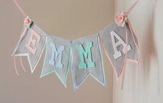 Pastel Tea Party Theme Felt Name Banner with por StringDearieStudio