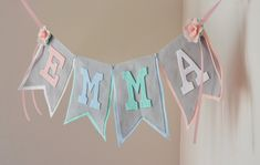 Pastel Tea Party Theme Felt Name Banner with por StringDearieStudio