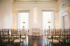 The Brandon Room set for the ceremony of the lovely Lowri and Josephine. Photography by Hannah May.