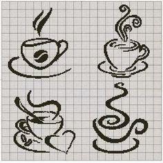 punto croce tazzine da caffe' | Hobby lavori femminili - ricamo - uncinetto - maglia