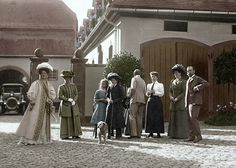 The Romanovs in Germany(colorized) ~ Love the look on Alix's face!