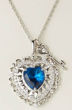 Silver & Sapphire Crystal Heart Pendant Necklace